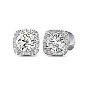 Women Studs Earrings Halo 2.70 Carats Sparkling Round Cut Diamonds Gold White 14K Halo Stud Earrings