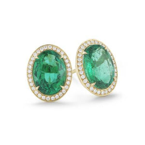 Women Studs Halo Earrings 10.80 Carats Emerald And Diamonds Yg 14K Studs- Halo