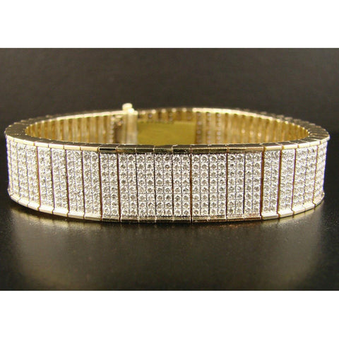 Yellow Gold 14K 18 Carats Round Cut Diamond Bracelet Men Jewelry Mens Bracelet