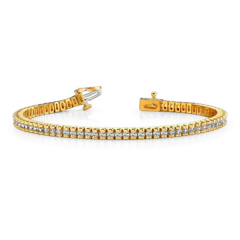 Yellow Gold 14K Diamonds Basic Tennis Bracelet 6 Carats Tennis Bracelet
