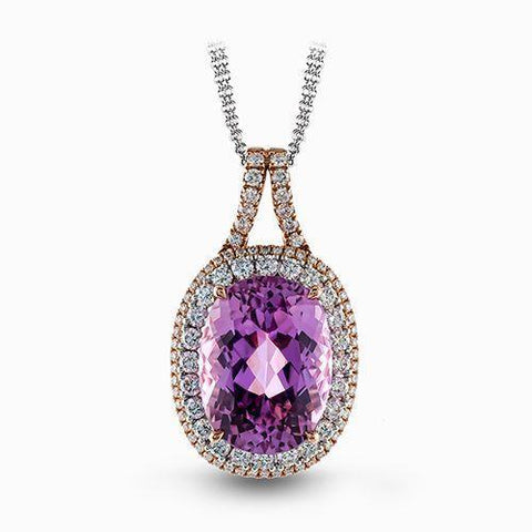 Yellow Gold 14K Pink Natural Kunzite And Diamond Necklace Pendant Gemstone Pendant