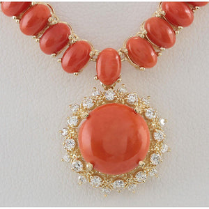 Yellow Gold 14K Red Coral With Diamonds Pendant Necklace 41 Carats Jewelry Gemstone Necklace