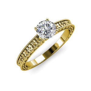Yellow Gold 14K Round Cut 2.00 Ct Solitaire Diamond Anniversary Solitaire Ring with Accents