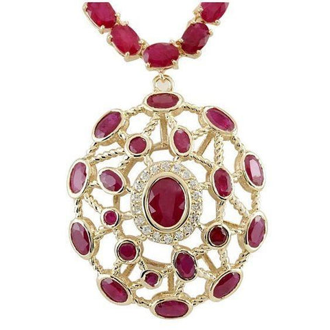 Yellow Gold 14K Women Necklace 52.25 Carats Ruby And Diamonds Gemstone Necklace