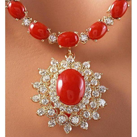 Yellow Gold 46.00 Ct. Red Coral And Diamonds Pendant Necklace New Gemstone Necklace