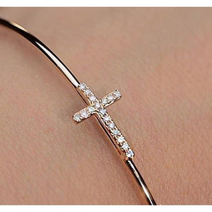 Yellow Gold Bangle 1 Carat Cross Women Jewelry New Bangle