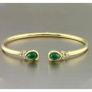 Yellow Gold Green Emerald Bangle 2.30 Carats Women Jewelry New Bangle