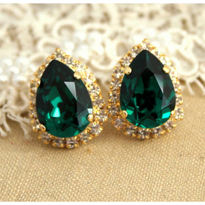 Yellow Gold Lady Emerald With Diamond Studs Halo Ear Ring Fine Jewelry Studs- Halo
