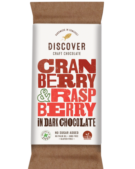 Discover Stevia Dark Chocolate with Cranberry and Raspberry (No Added sugar)