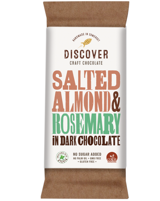 Discover Stevia Dark Chocolate with Salted Almond and Rosemary (No Added Sugar)
