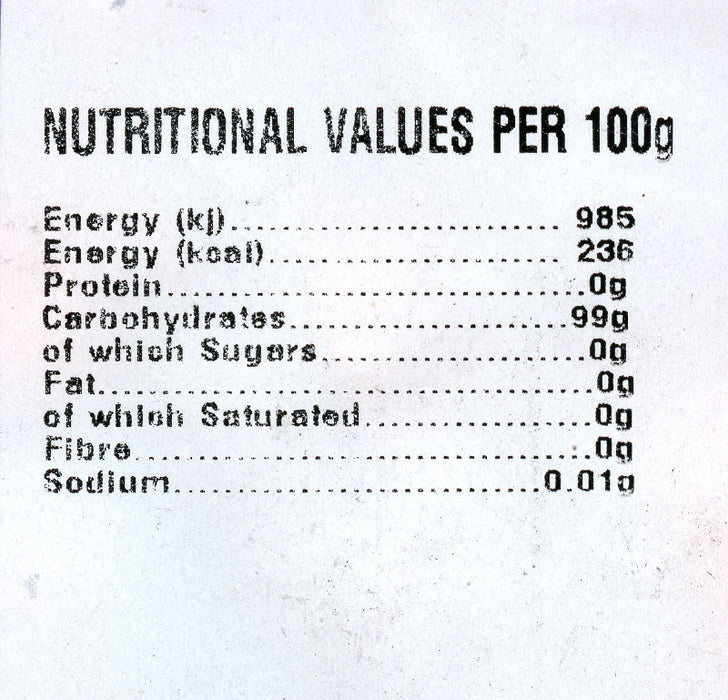Monarch Sugar free Nutritional information