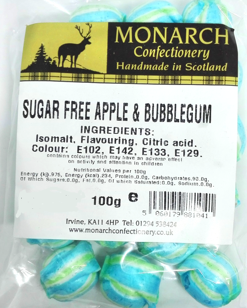 Monarch Sugar Free Apple and Bubblegum