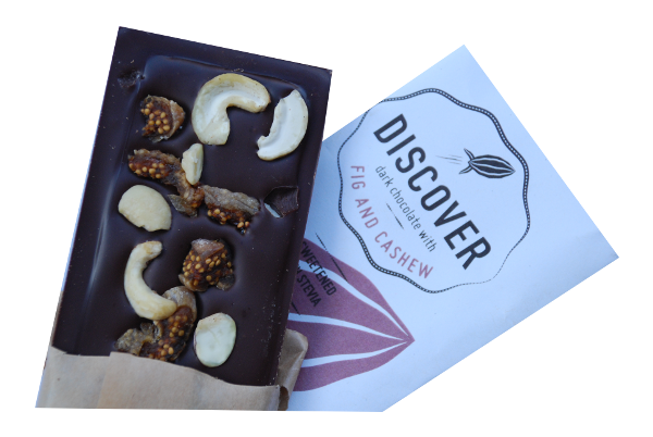 Discover Stevia Dark Chocolate with Fig and Cashew (no added sugar)