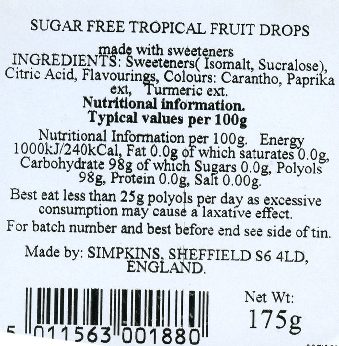 Simpkins Sugar free Tropical travel fruit sweets nutritional info