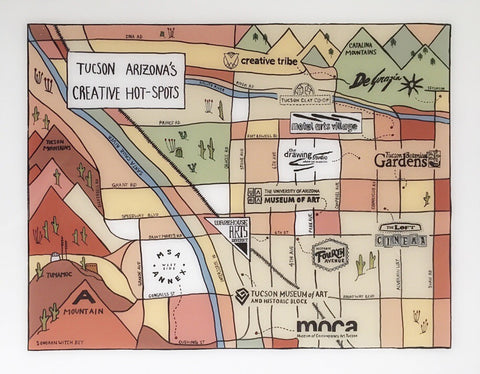 Hand drawn map of Tucson in dusty pink and neutral colors