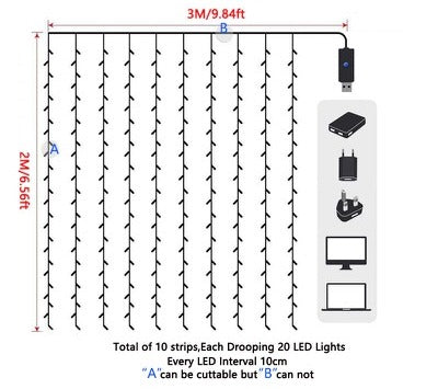roomtery led curtain ivy string lights