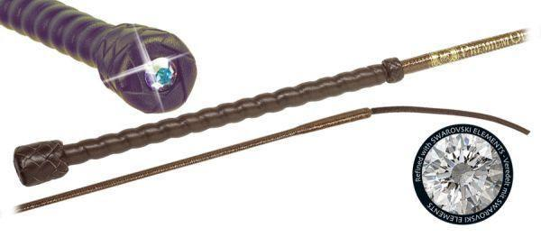 Fleck Dressage Whip with Clear Swarovski Jewel