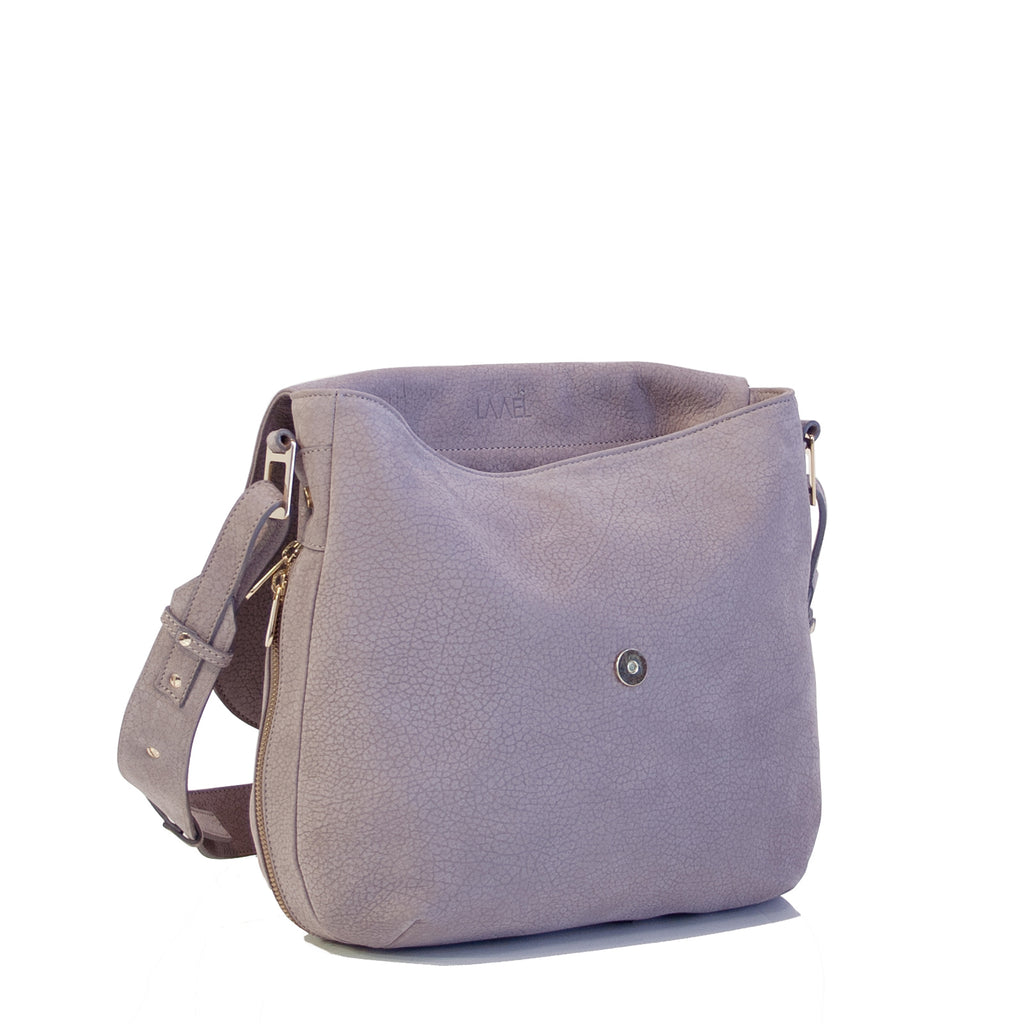 #01 Taupe embossed medium zip shoulder bag