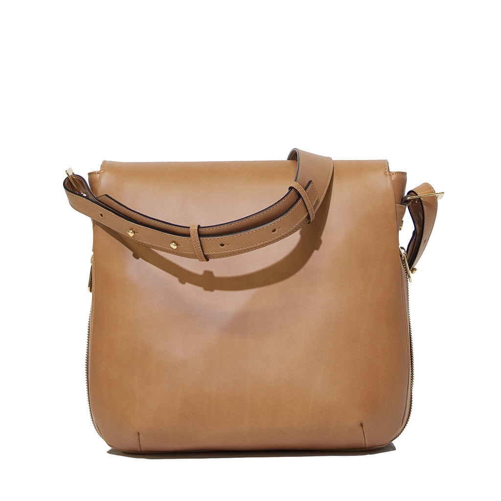 #01 Caramel & craquelé medium zip shoulder bag