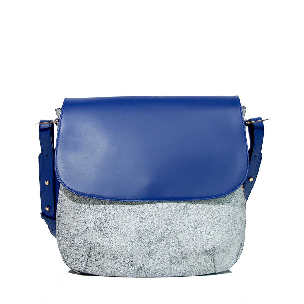 #01 Electric blue & craquelé medium zip shoulder bag
