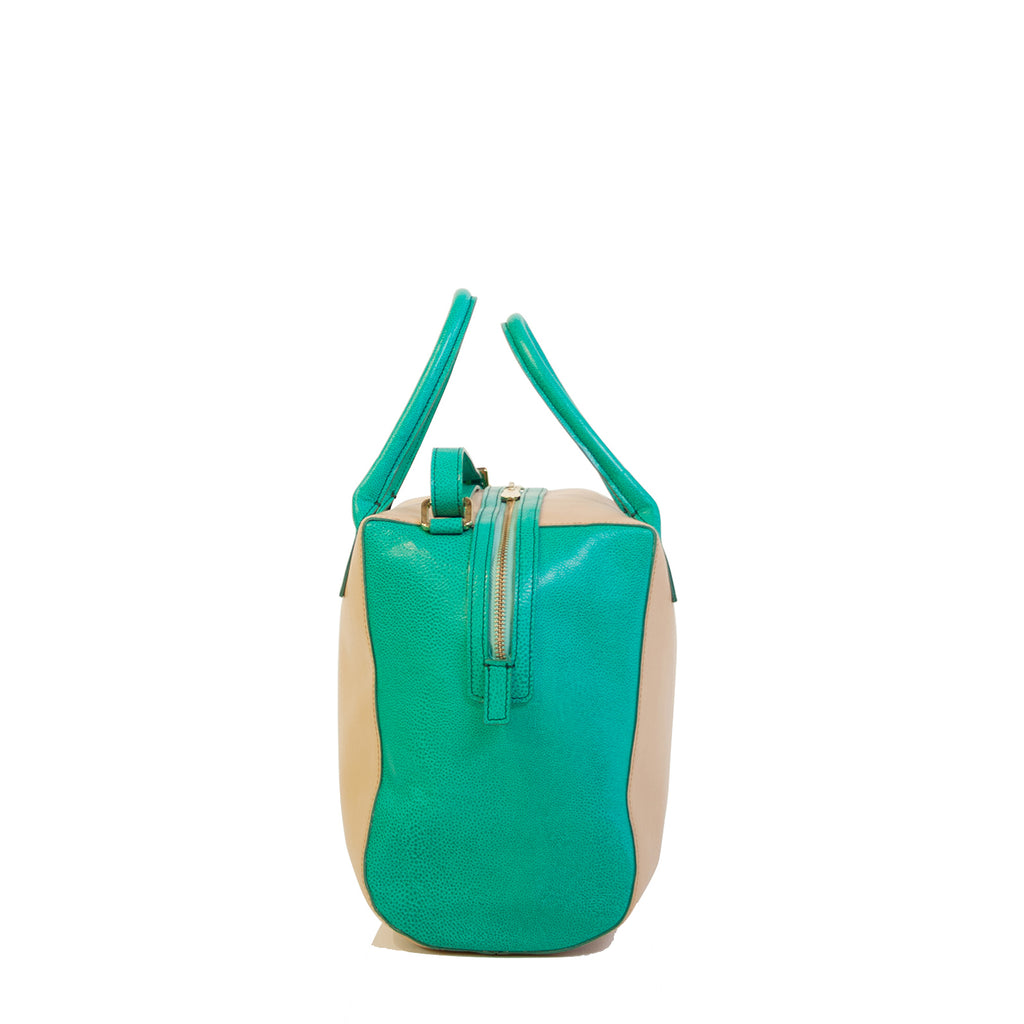 #04 Blush and aqua boxy handbag