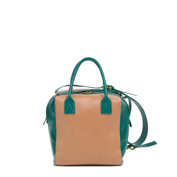 #04 Caramel and forest green boxy handbag