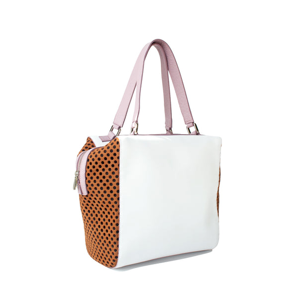 SAMPLE White, lilac and caramel top handle bag