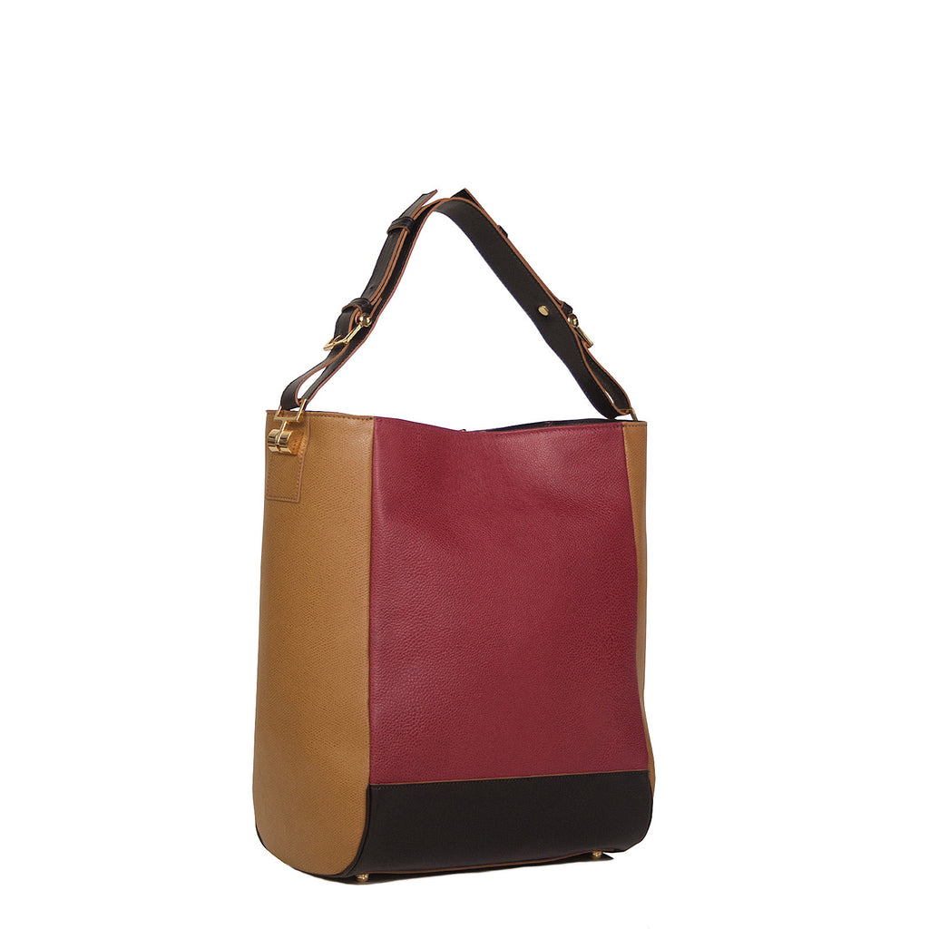 #12 Black, cyclamen & sand colour block small tote