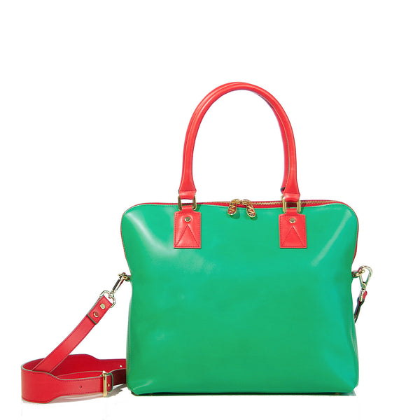 #14 Emerald green and bright red medium handbag