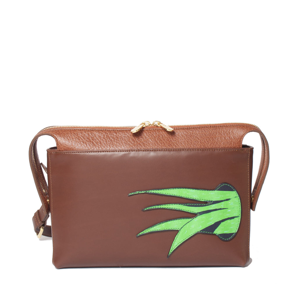 #17 Chocolate brown top zip shoulder bag with plant patch