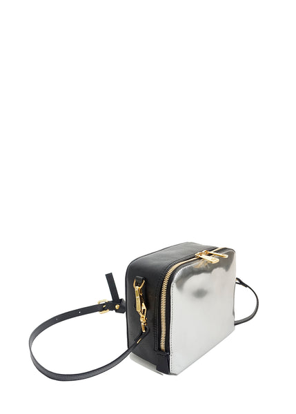 #18 Silver & black mini cross-body bag