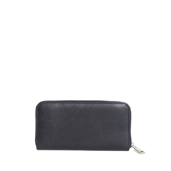 #24 Navy blue light grain long wallet