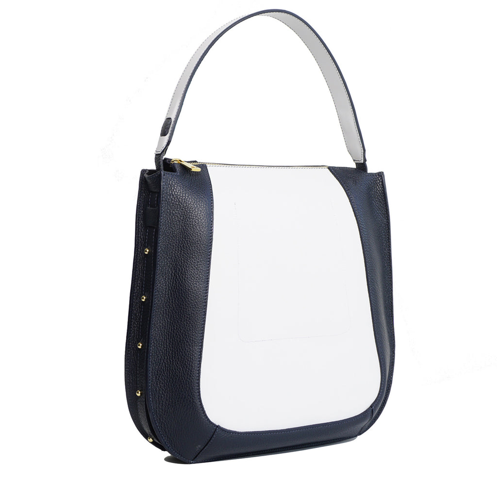 #32 Navy blue & white zip tote bag