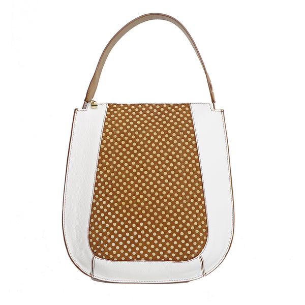 #32 White & caramel zip tote bag