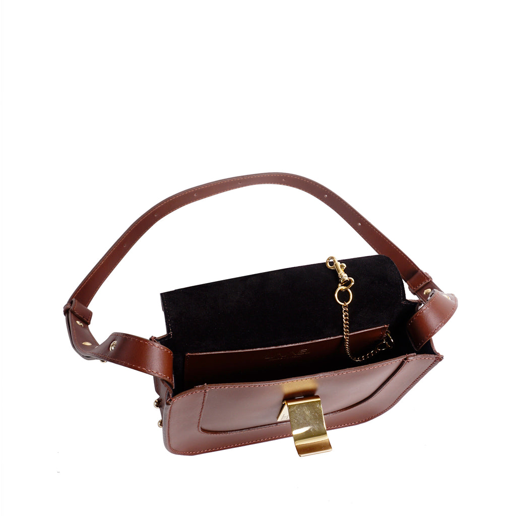 #33 Chocolate brown mini shoulder bag