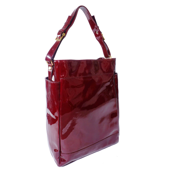 SAMPLE Patent burgundy top handle bag