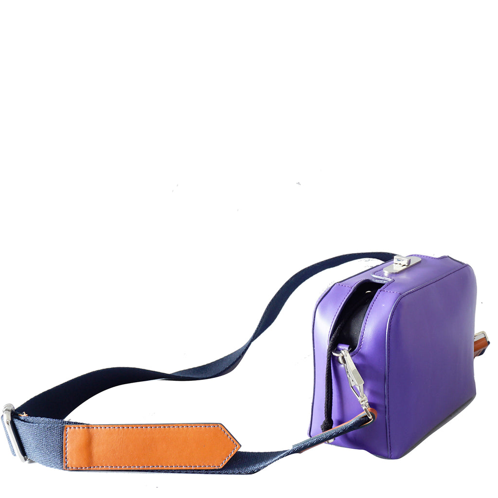 #18 purple mini boxy cross-body bag