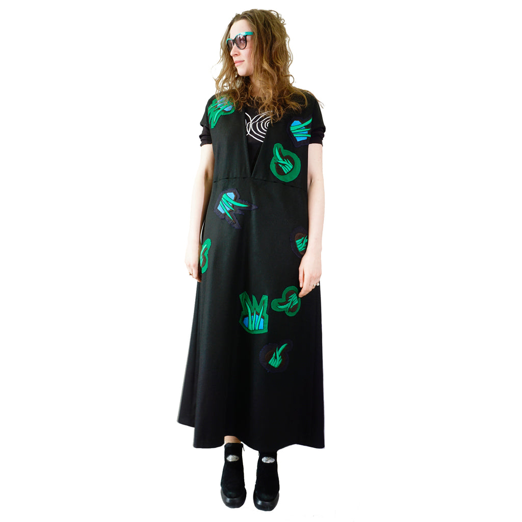 Long large dress with patches