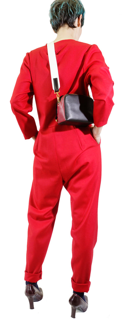 Red pantsuit with front zipper