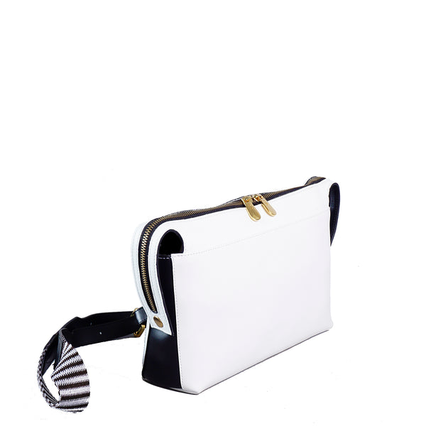 SAMPLE #17 White&black top zip shoulder bag
