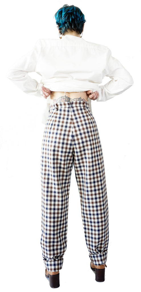 Tartan pleated pants