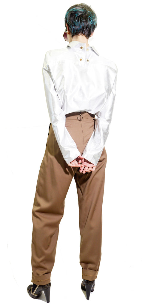 Beige pleated pants