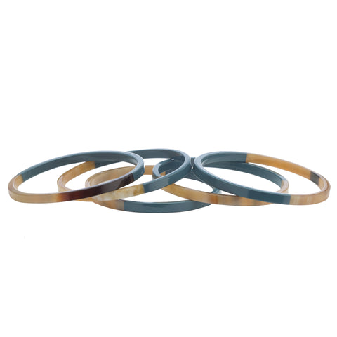 Buffalo Horn Bangles with Half Blue Gray Lacquer