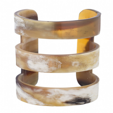 Natural Buffalo Horn Cuff with 3 Bands