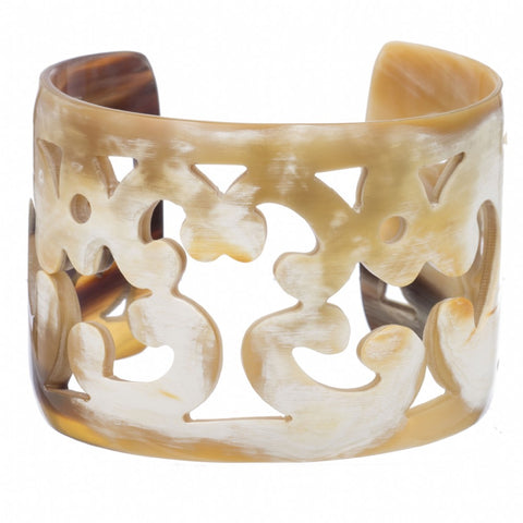 Buffalo Horn Carved Scroll Cuff
