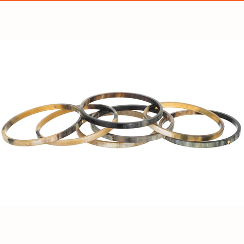 Set of 7 Bangles with CZ Crystals.