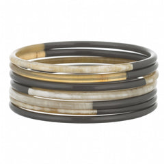 Set Of 7 Thin Bangles With Charcoal Lacquer