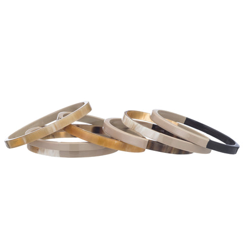 Set of 7 Buffalo Horn Bangles With Wheat Lacquer