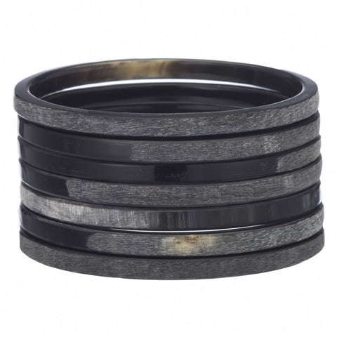 Set of 7 Matt and Gloss Finish Black Horn Bangles
