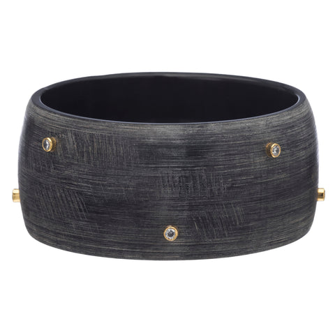 Matte Dark Gray Bangle With Scattered Crystal